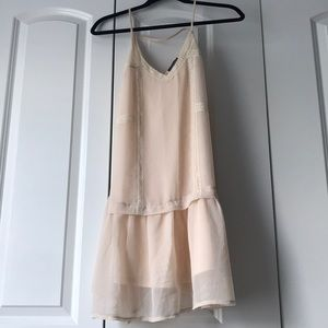 ASTR Nude Pink & Lace Drop Waist Dress